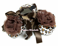 Infant Newborn Baby Toddler Baby Girl Brown Leopard Crib Shoes Rosettes NB-18M