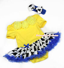 Halloween Infant Yellow Rosettes Jumpsuit Blue Milk Cow Baby Girl Dress NB-12M