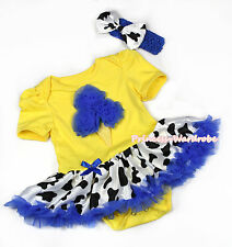 Halloween Infant Yellow Jumpsuit Blue Ice Cream Milk Cow Baby Girl Dress NB-12M