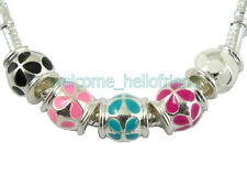 20pcs Silver Tone Enamel Barrel Charm Beads Fit Bracelet E21
