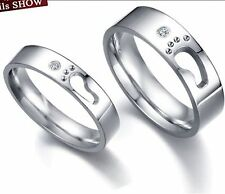 Wedding Ring Pair Set Footprint CZ Engagement Stainless Steel Size 5 6 7 8 9 10