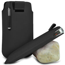BLACK POUCH PULL TAB CASE COVER W/ RETRACTABLE STYLUS PEN FOR VARIOUS PHONES