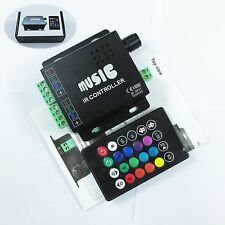 Lots 12-24V 12A Sound Activated+Audio Control Music IR Remote RGB led controller