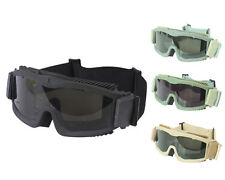 Airsoft Tactical Anti-fog Full Set Goggle Glasses with 3pc Lens 4 Colors BK/TAN