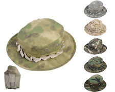 Airsoft Tactical Foldable Boonie Hat Cap w/ Mosquito Netting 6 Color A-TACS FG A