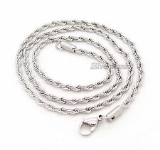 "18""~30"" 3mm 4mm Mens 316L Stainless Steel Rope Chain Necklace"