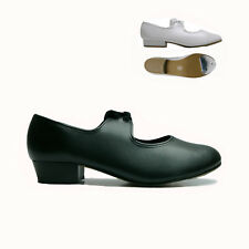 CHILDRENS / ADULTS PU TAP SHOES BLACK WHITE LOW HEEL WITH TOE TAPS