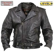 Mens Retro Brown  Buffalo Leather  Motorcycle Biker Jacket Level 3 Armor $249