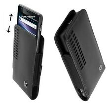 Leather Open Top Case Pouch Cover for Huawei Phones. Black +Holster Belt Clip*