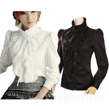Black/White Top Career Womens Wear Ladies Shirt Vintage Victorian Ruffle Blouse
