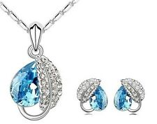 New Necklace Earring Set Rhinestone Austria Crystal Pendant Silver Plated