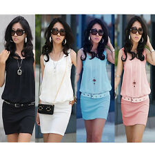 NEW Summer Women's Mini Dress Crew Neck Chiffon Sleeveless Causal Tunic Sundress