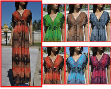 L01 Summer Boho beach Sleepwear kimono smocked maxi long sundress 6 8 10