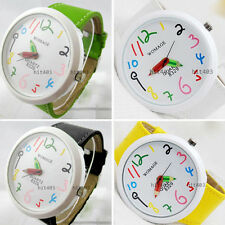 New Dial Pencil Pointer Women Lady Girls Student Quartz Leather Band Wrist Watch
