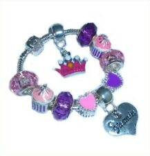 Childrens Girls Personalised Name or Initial Charm Bracelet Pink Purple Hearts