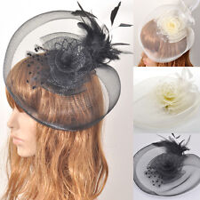 Fashion Lady Head Band Hairwear Fascinator Hat Feather Net Hair Accessory Party
