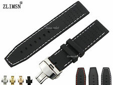 22mm Black White OR Red Stitched Waterproof Silicone Rubber Watch bands Straps