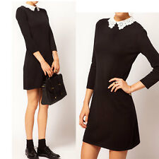 New Elegance Womens Peter Pan Lace Collar Slender 3/4 Sleeved Mini OL Dress