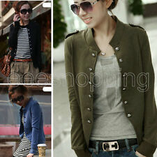 Women's Casual Long Sleeve Stand-up Collar Double Breasted Basic Jacket M/L/XL