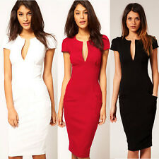 Women Sexy Deep V neck Stretch bodycon Business Party Pencil Slim Cocktail Dress