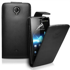 Flip Leather Case Cover For Sony LT30p Xperia T+ Screen Protector