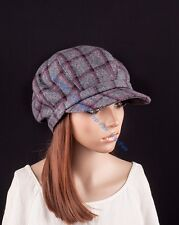 M490 Fashionable Classic Grids Wool Cotton Newsboy Hat Driving Cap Cabbie Women