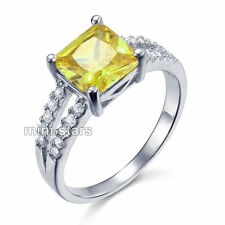 Yellow Canary Color 2 Carat Lab Created Diamond Sterling Silver 925 Ring FR8033