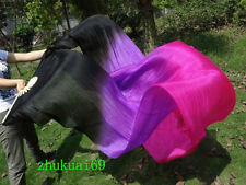 1 pair(L+R) 100%Real silk belly dance fan veil Black/Purple/Rose Red(1.5m 1.8m)