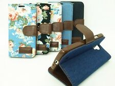 Retro Cloth Style Slot Stand Wallet Leather TPU Cover Case For Samsung Galaxy