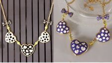 N457 BETSEY JOHNSON Blue Black Dot Hearts with Bow Ribbon Heart Necklace US