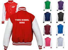 NEW MENS WOMENS KIDS PERSONALISED YOUR SCHOOL AND INITIALS COAT VARSITY JACKET