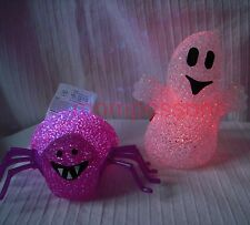 New Halloween LIGHT UP COLOUR CHANGING SPIDER & GHOST spooky decoration ornament