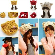 New Women Devil Cute Braided Knit Ski horns Cat Ear Crochet Beanie Wool Hat Cap