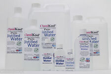 CLASSIKOOL PURE DISTILLED WATER - DE-IONISED THEN DISTILLED 8 DIFFERENT  SIZES