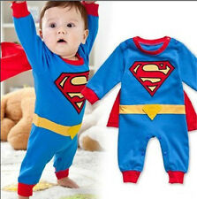 Hot Baby Romper Superman Long Sleeve Baby Dress Smock Infant Halloween Costume