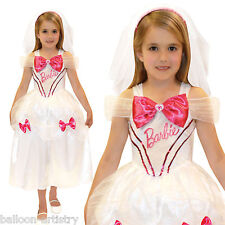 Childs Girls Official BARBIE Bride Fancy Dress Costume + Matching Doll Outfit