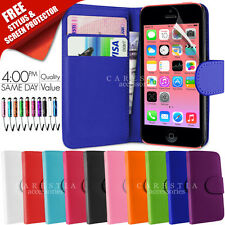 IPHONE 5C CASE FLIP WALLET LEATHER COVER FREE SCREEN PROTECTOR