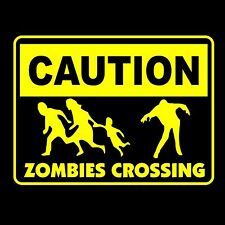 T-SHIRT - CAUTION ZOMBIES CROSSING Tee MENS funny walking brains awesome dead
