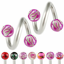 Spiral belly ring piercing barbell twist navel ring balls jewellery 2 pcs 9IZB