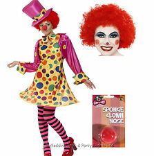 8-22 Circus Clown Costume Afro Wig Red Nose Tights Ladies Fancy Dress Outfit