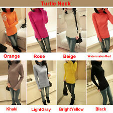 Autumn Winter Womens Long Sleeves Turtleneck Pullover Jumper Sweaters Shirts Top