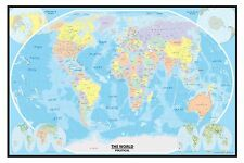 24x36 World Wall Map Poster with Blue Oceans on Canvas