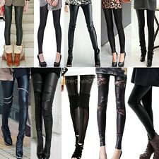 Women Sexy Synthetic Leather Stretch Skinny Leggings Tight Casual Pants Good