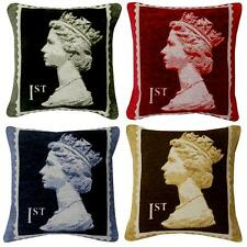Royal Mail Retro British Postage Stamp Chenille Cushion Covers / Filled Cushions