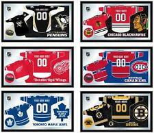 "Choose Your NHL Team 26 x 15"" Framed Litho Color Personalized Jersey Wall Mirror"