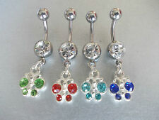 1 X PURE TITANIUM BAR, DANGLY CRYSTAL BUTTERFLY BELLY BAR,CHOSE 8MM,10MM,12MM