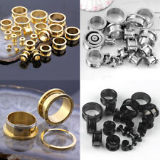 Stainless Steel Screw Ear Flesh Tunnels Plugs Expander Stretcher Gauges Earrings