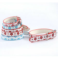 Sweet Dog Bling Red & Blue Flower Patten Leather Puppy Pet Collar Size XS S M L