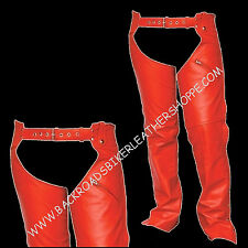 Ladies Womens Mens RED Leather Biker Motorcycle Chaps Sizes XS-3X