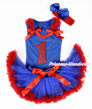 Red Sparkle 1ST Royal Blue Top Royal Blue Red Newborn Baby Girl Pettiskirt 3-12M